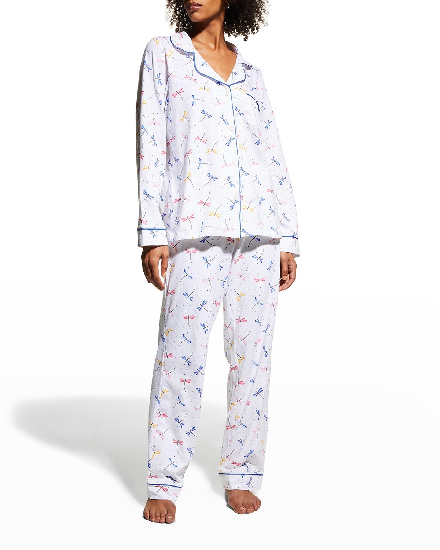 Dragonfly-Print Long-Sleeve Pajama Set