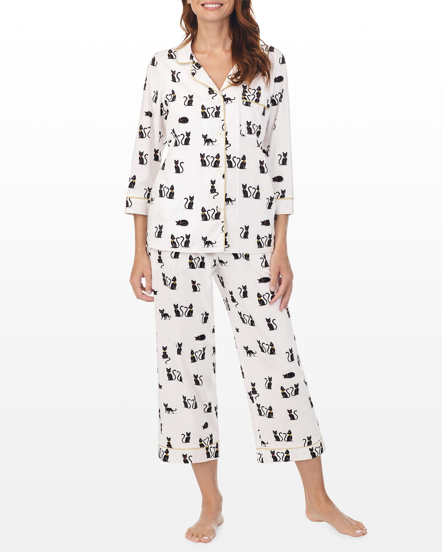 Cats-Print 3/4-Sleeve Crop Pajama Set