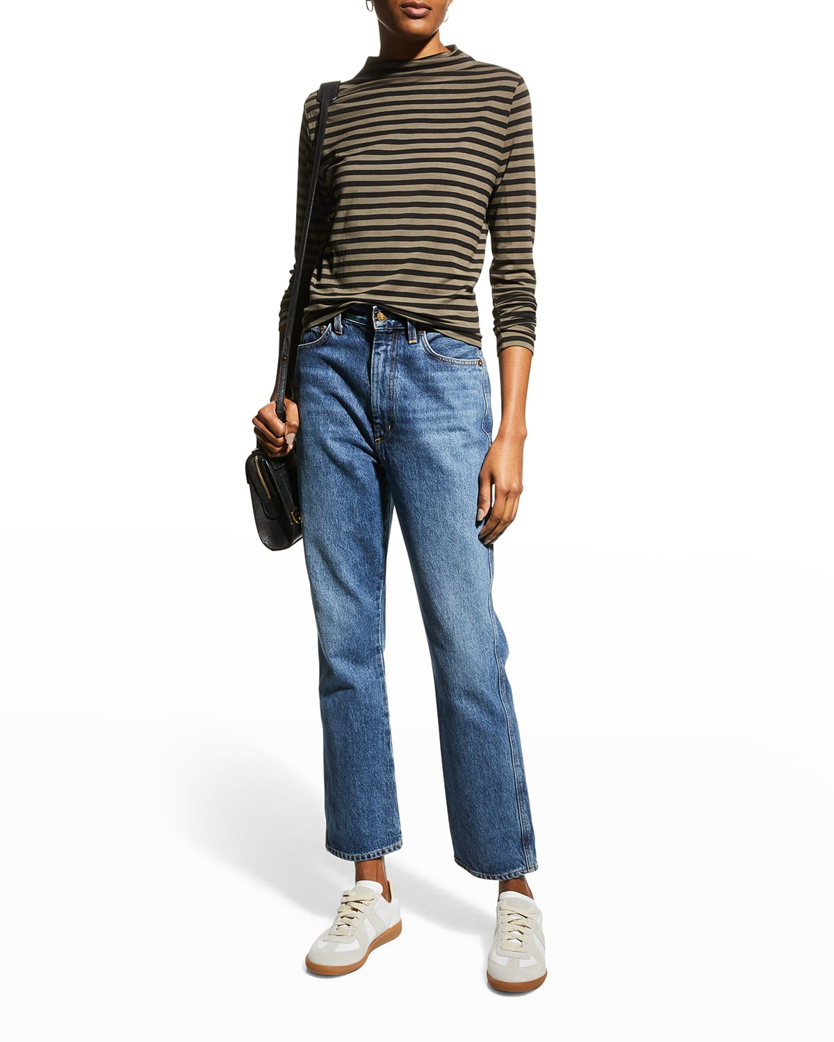Soft Touch Striped Mock-Neck Top