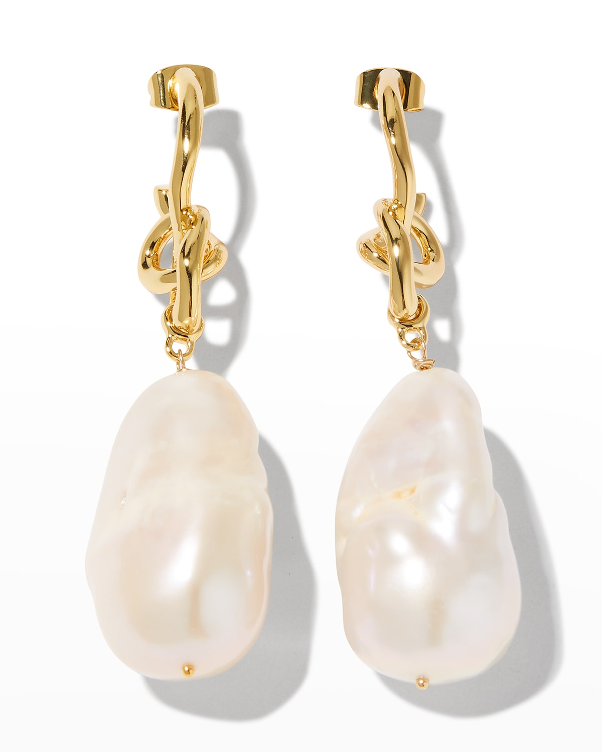 Asterales Knot Post Drop Earrings with White Baroque Pearl