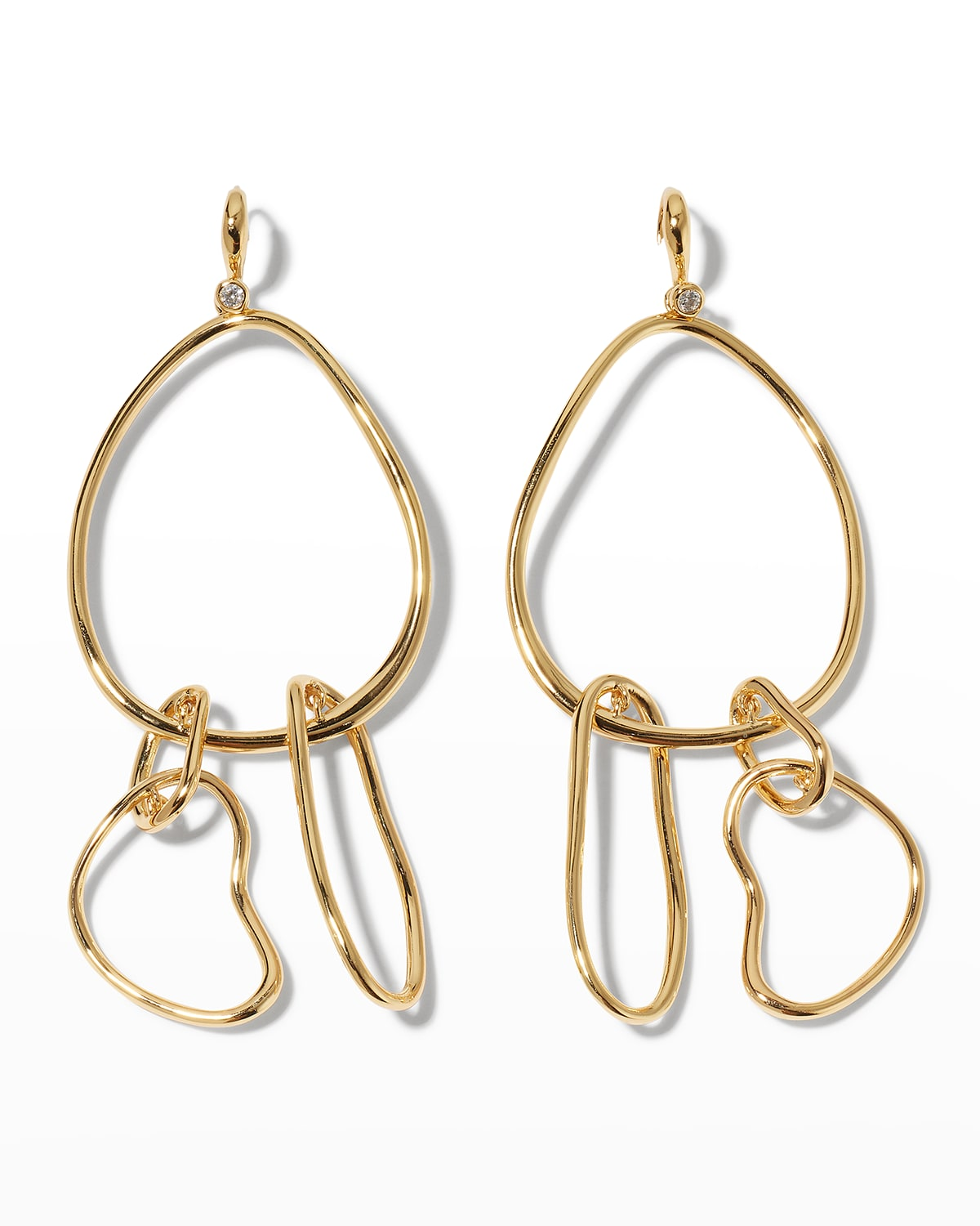 Twisted Gold Large Mobile Earrings