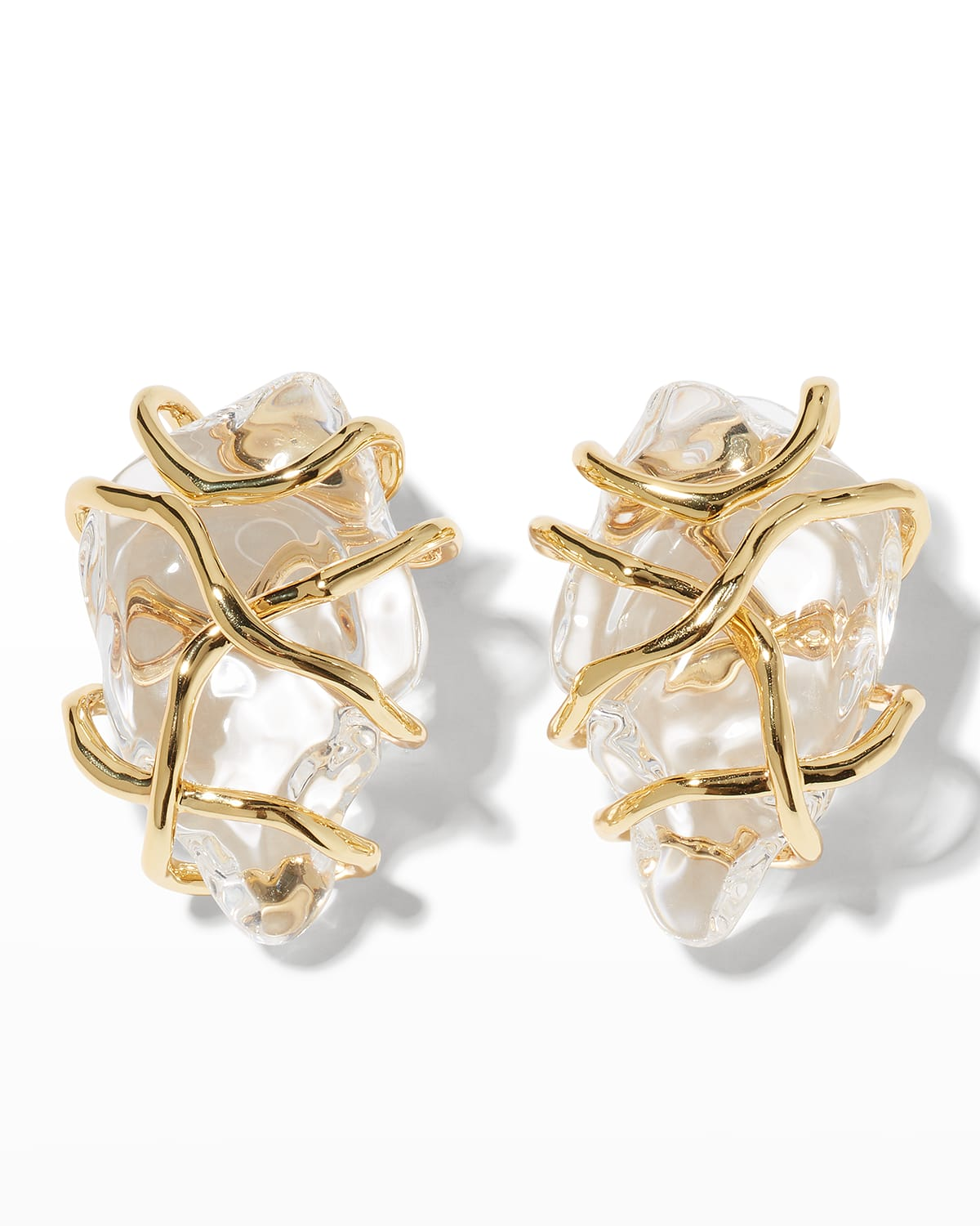 Twisted Gold Liquid Lucite Large Post Earrings