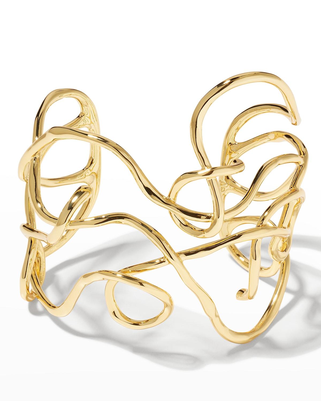 Twisted Gold Large Cuff Bracelet