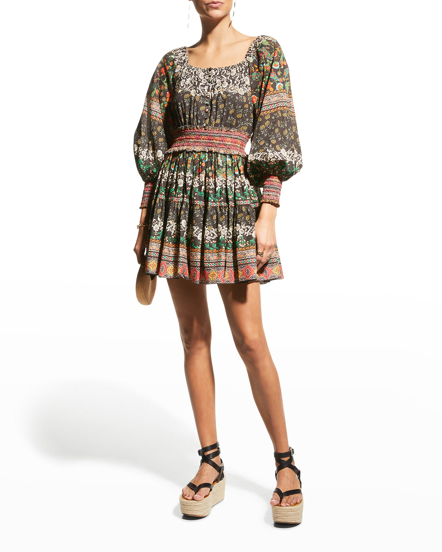 Clementina Smocked-Waistband Tiered Mini Dress