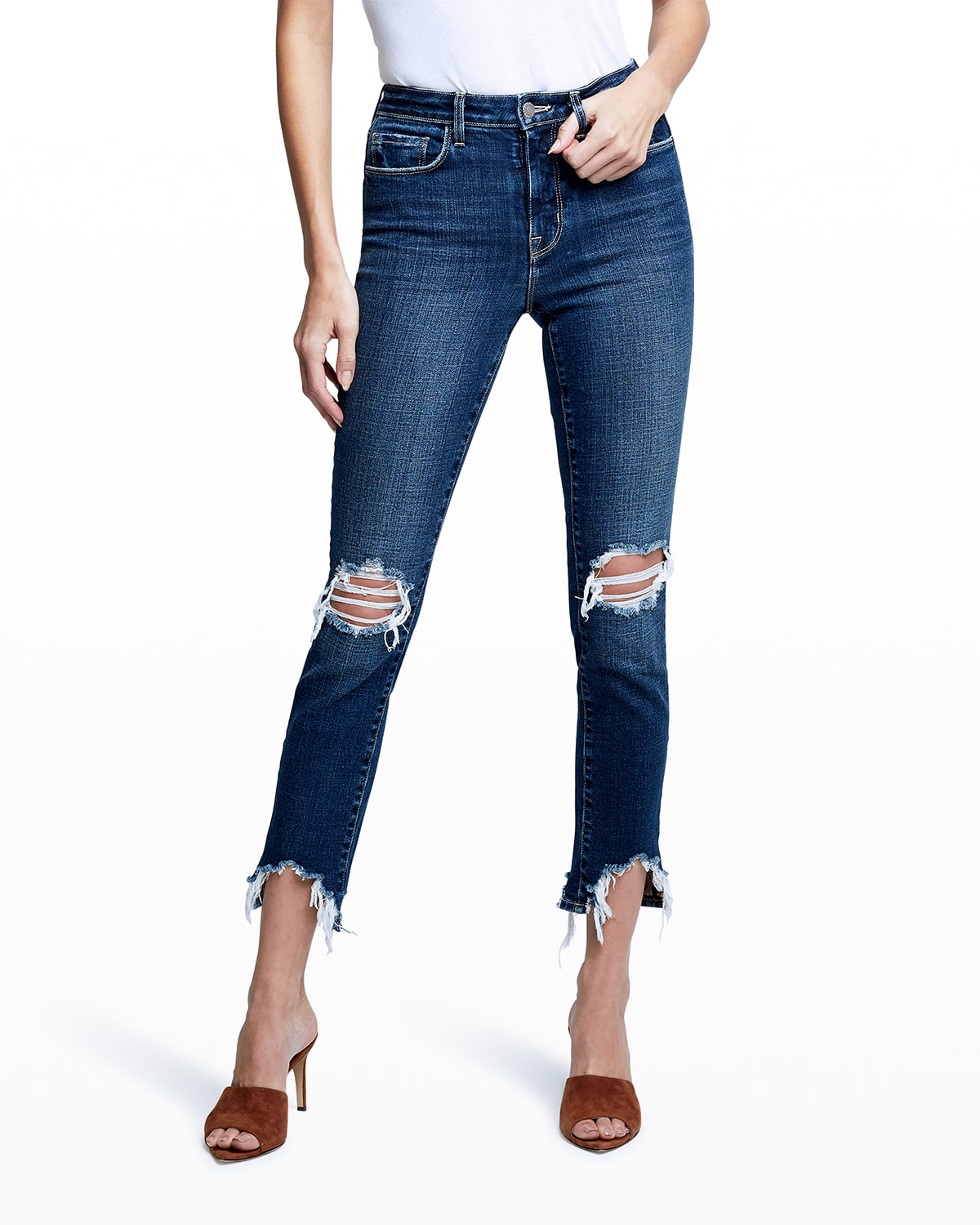 High Line Destroyed High-Rise Straight Jeans