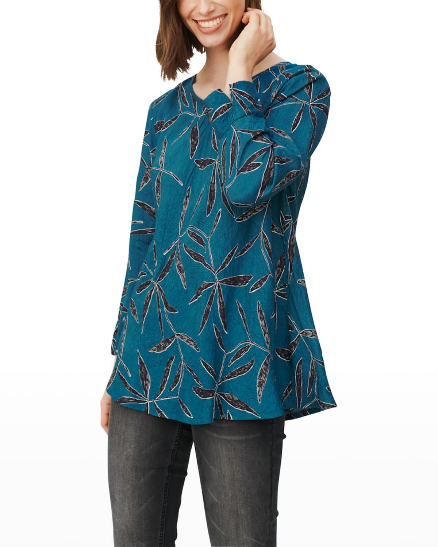 Danita Leaf-Print Long-Sleeve Top
