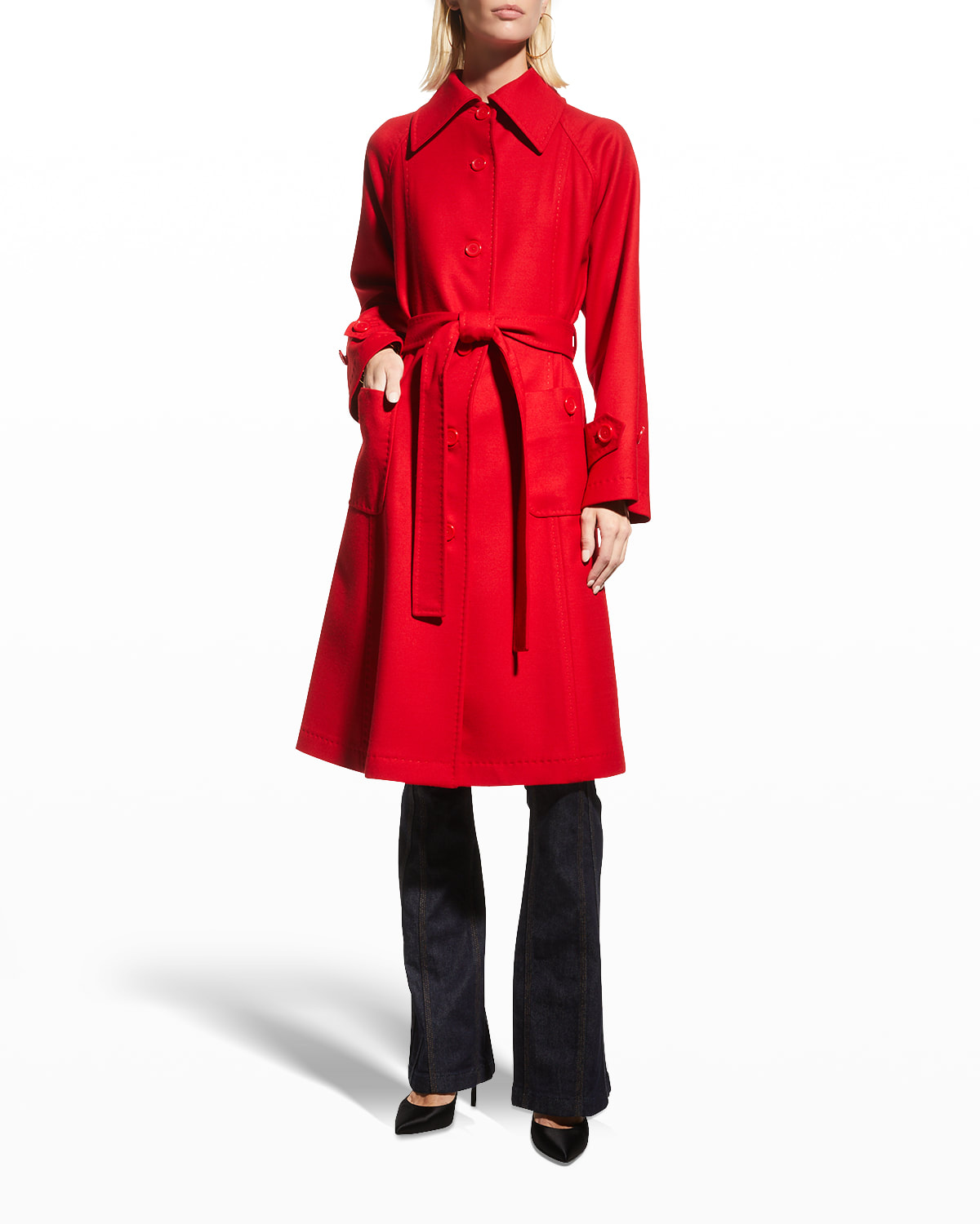 Belted Single-Breasted Wool Coat