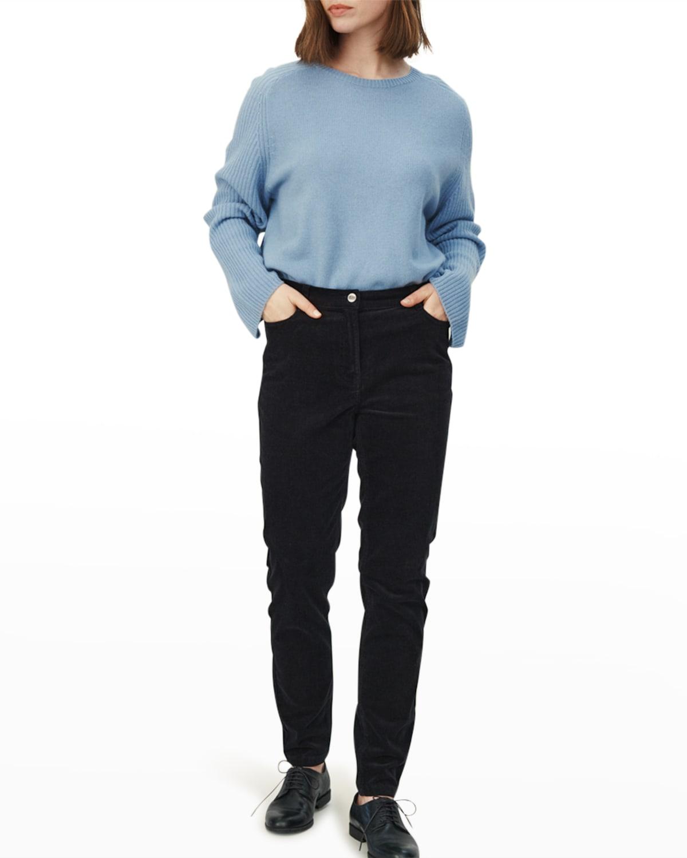 Frilla Ribbed-Sleeve Wool Pullover