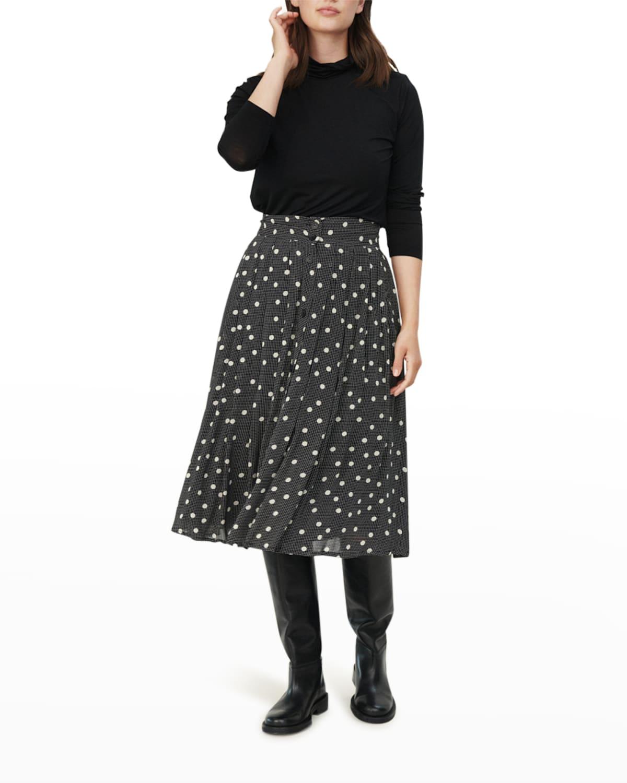 Sandina Button-Front Dot Skirt