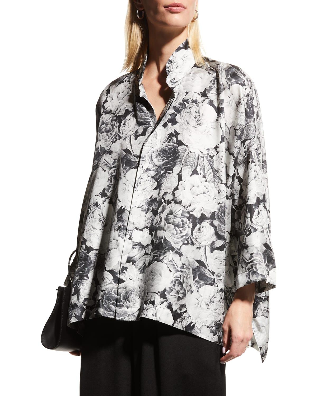 Floral-Print Oversized Silk Shirt