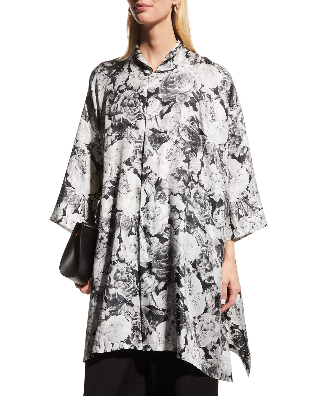 Wide A-Line Floral-Print Silk Shirt