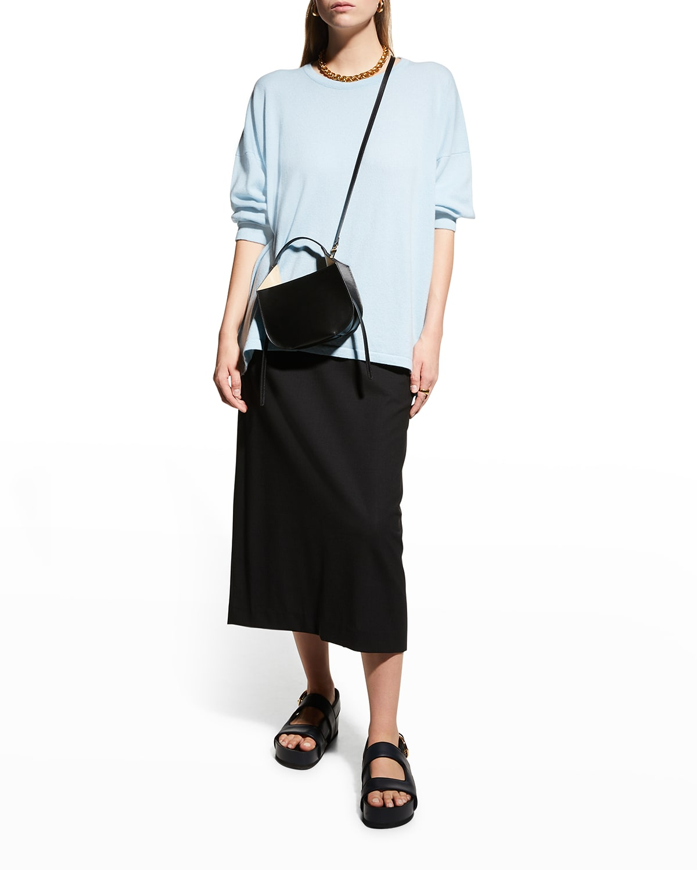 Wool-Stretch Midi Skirt