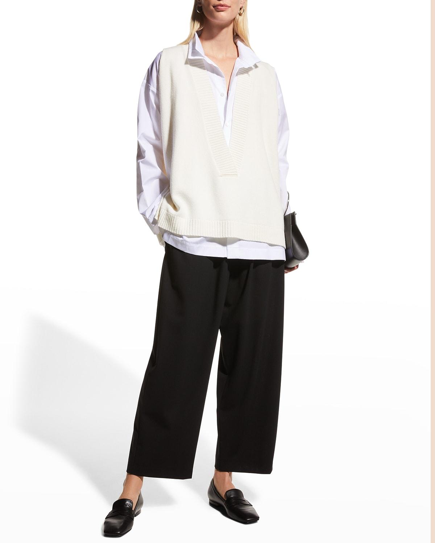 Oversized Plunging-Neck Cashmere Vest