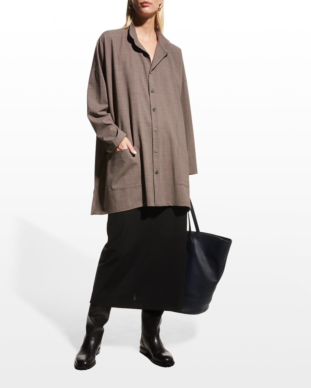 Long Plus Wide Wool-Blend Jacket