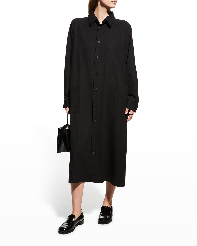 Angled-to-Front Midi Wool Shirtdress