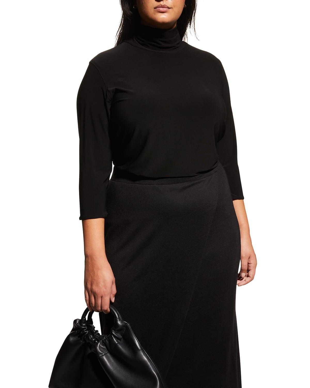 Plus Size 3/4-Sleeve Jersey Turtleneck Top