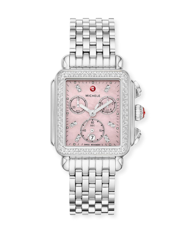 Deco Stainless Steel Diamond Case Watch