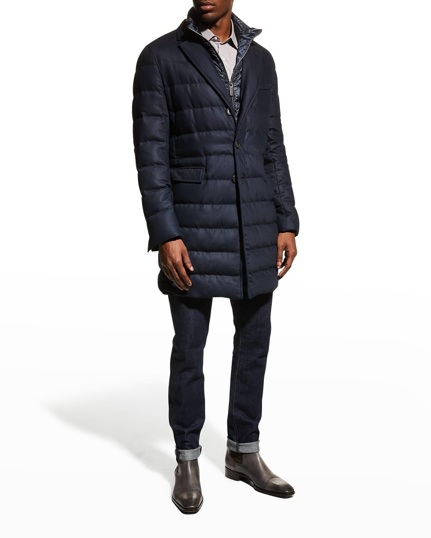 Men's Channeled Topcoat w/ Removable Bib