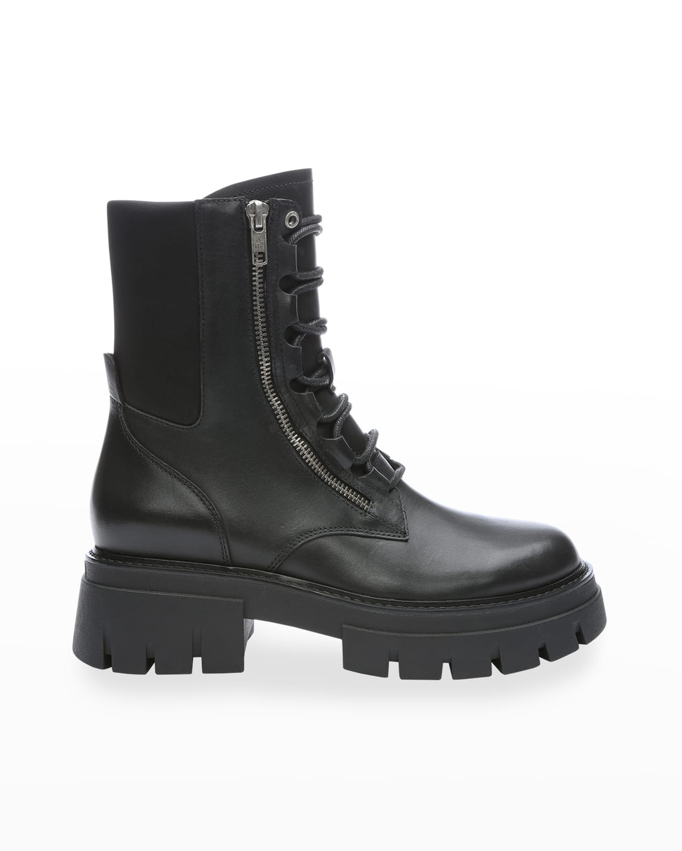 Lets Calfskin Zip Combat Boots