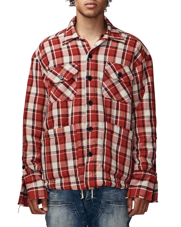 Men's Plaid Sherpa-Lined Boxy Shirt Jacket