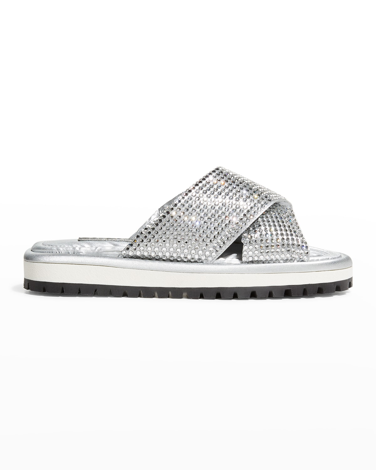 Quilted Nylon Allover Strass Puffy Slipper Sandals