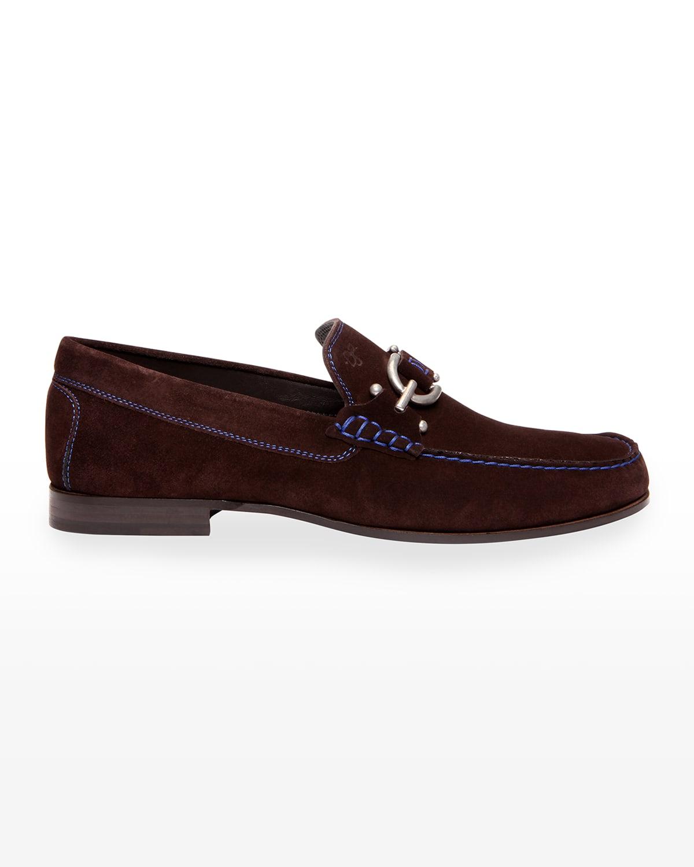 Men's Dacio Contrast-Stitch Suede Loafer