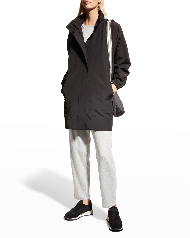 Organic Cotton-Nylon Coat w/ Hidden Hood