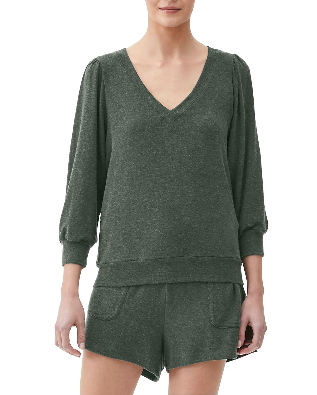 Gabriella V-Neck 3/4-Sleeve Sweatshirt