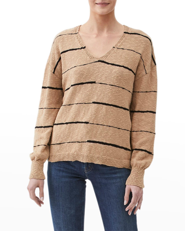 Tricia Striped V-Neck Cotton Pullover