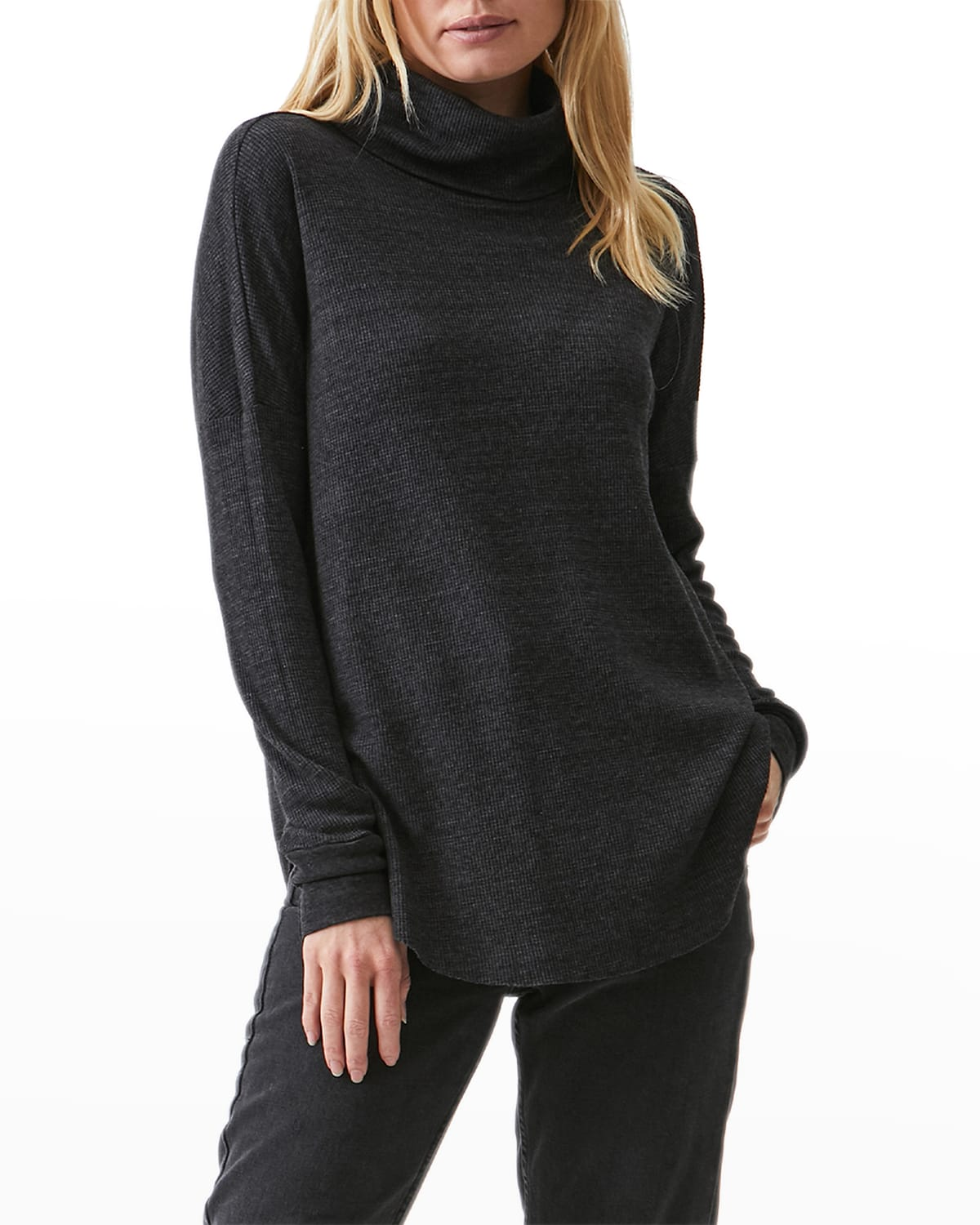 Michael Stars Marcy Thermal Shirttail Tunic In Charcoal
