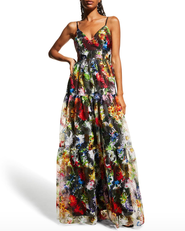 V-Neck Sleeveless Embroidered Gown