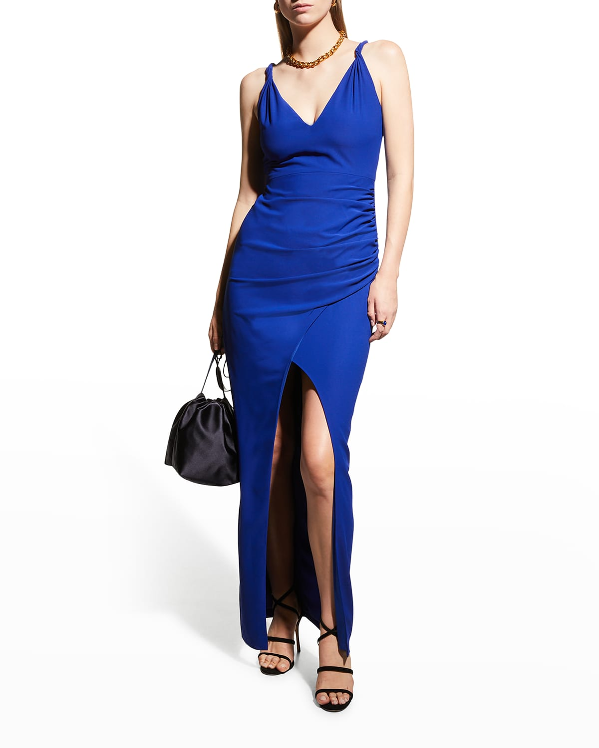 V-Neck High-Low Crepe Gown