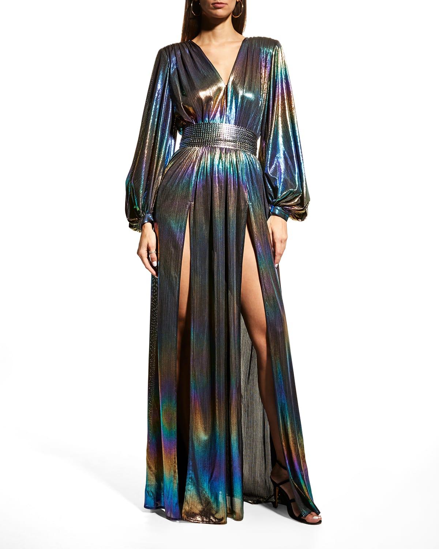 Zoe Blouson-Sleeve Iridescent Gown