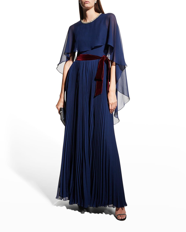 Vima Pleated Chiffon Dress w/ Velvet Belt