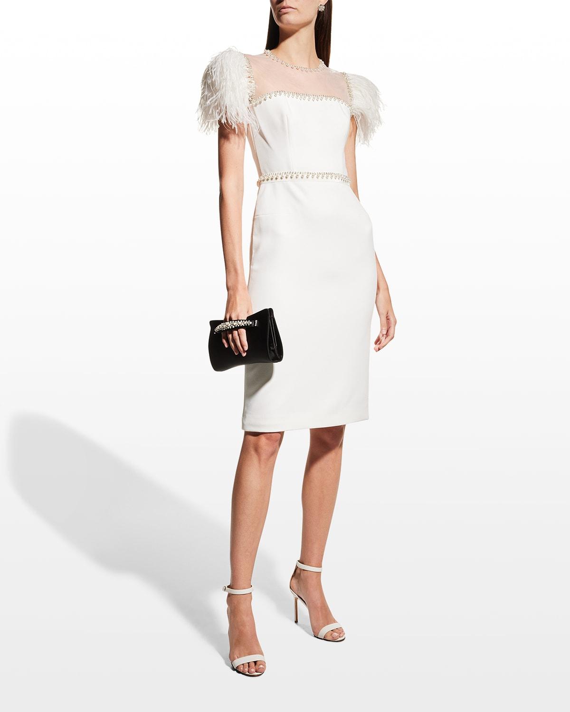 Bridget Beaded Cap-Sleeve Illusion Dress
