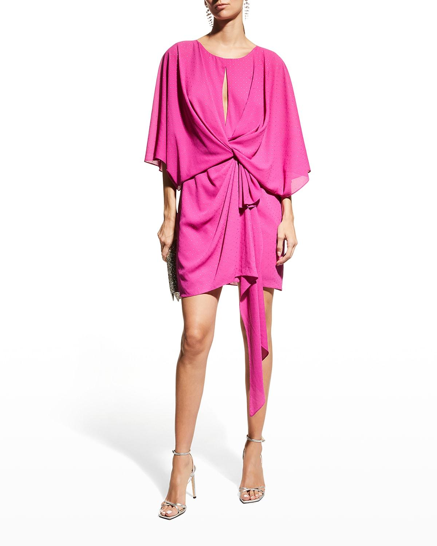 Dolman-Sleeve Side-Drape Dress