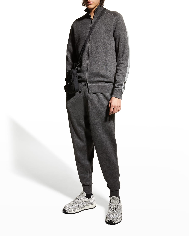 Men's Stripe-Sleeve Zip Jacket