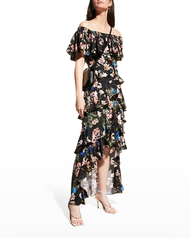 Floral Off-Shoulder High-Low Ruffle Dress