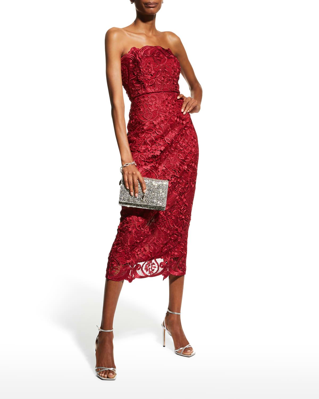Strapless Guipure Lace Midi Dress