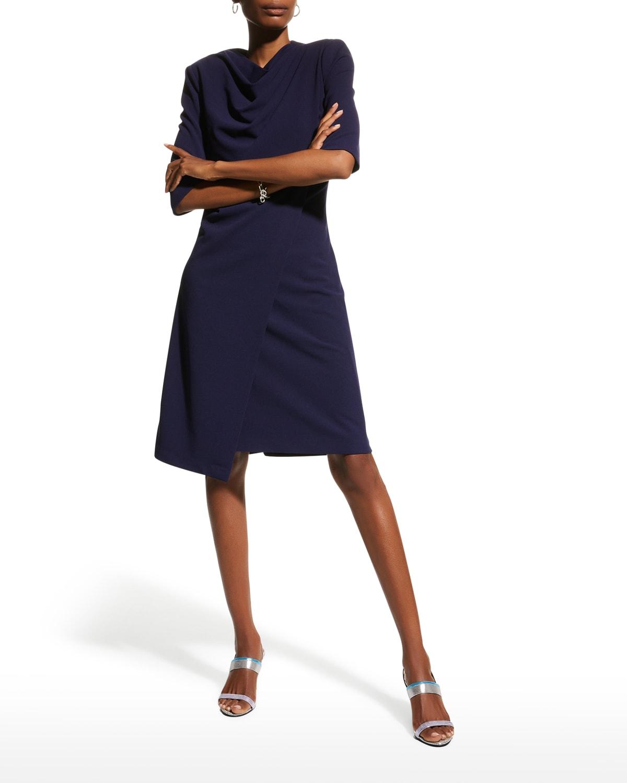 Elbow-Sleeve Stretch Crepe Dress
