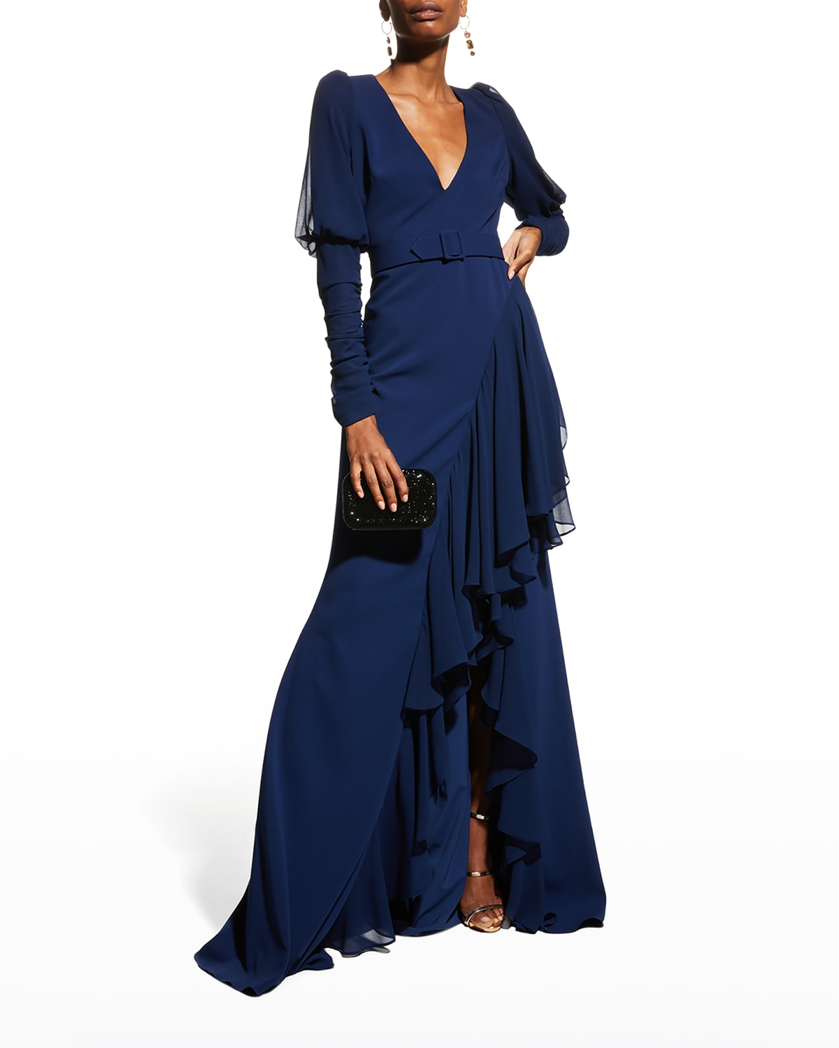 V-Neck Crepe & Georgette Ruffle Gown