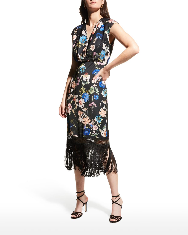 Floral-Print Fringe-Hem Midi Dress