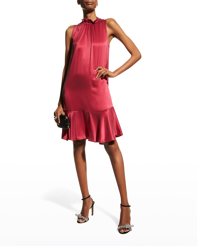 Silk Flounce-Hem Trapeze Dress