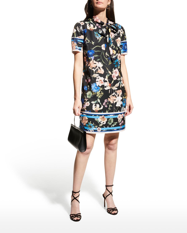 Floral Crepe De Chine Tie-Neck Shift Dress
