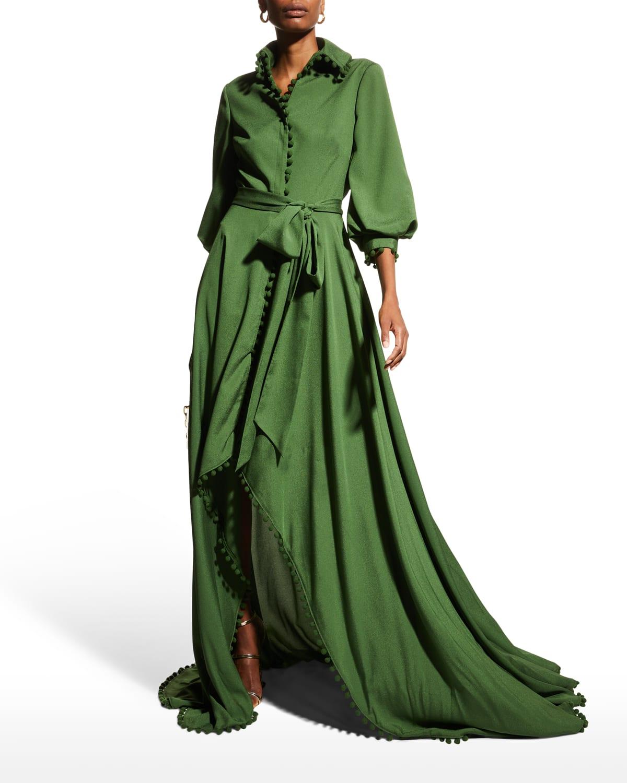 Pompom-Trim High-Low Shirtdress Gown