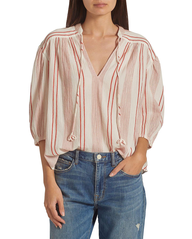Rowyn Split-Neck Striped Blouse
