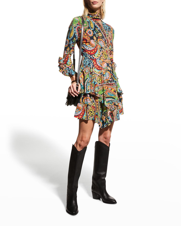 Paisley-Print Ruffle Mini Dress