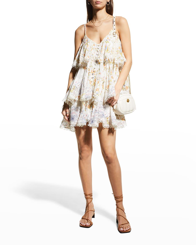 Layered Floral-Print Mini Dress