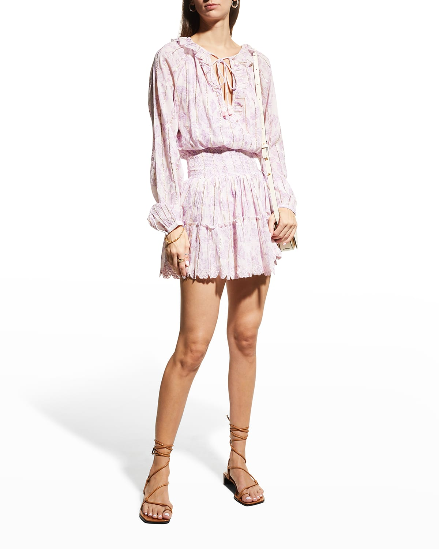 Shirred Long-Sleeve Short Dress