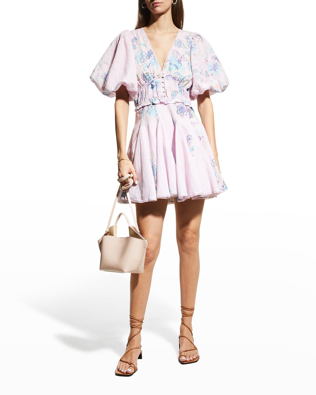 V-Neck Short Dress w/ Puff Sleeves